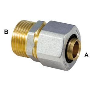 Прямой обжимной фитинг для металлопластиковых труб, резьба нар. G