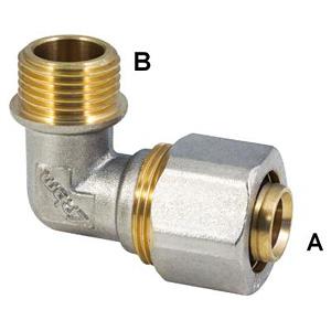 Угловой обжимной фитинг для металлопластиковых труб, резьба нар. G