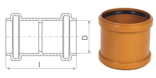 Муфта двойная для наружной канализации