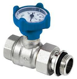Кран шаровый  BLU с термометром прямой с накидной гайкой  1