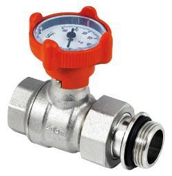 Кран шаровый RED с термометром прямой с накидной гайкой 1
